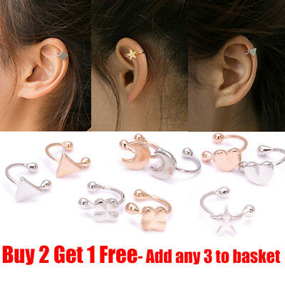 Fashion Clip-on Silver & Gold Earring Tragus Helix Cartilage Ring Non-Piercing