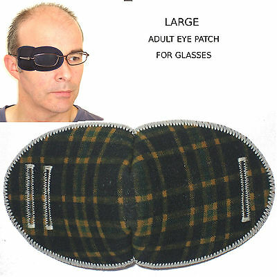 Medical Eye Patch for Glasses, LARGE, TARTAN, Soft and Washable
