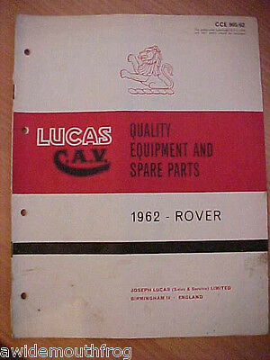"Lucas Equipment & Spares Rover Cars & Land Rover 1962 Original 88"" & 109"""