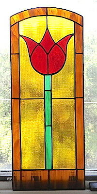 """Tall Tulip Arched Stained Glass Leaded Window 28"""" x 11.25"""""""