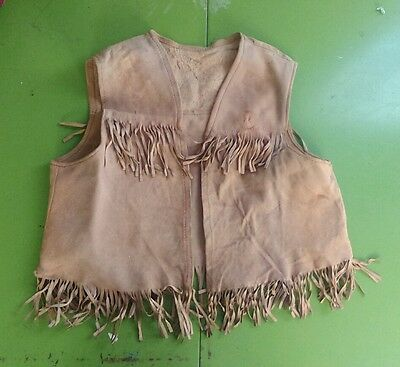 Vtg 50's 60'S Fringed Leather Suede HIPPIE Vest Children Kids Deerskin Western