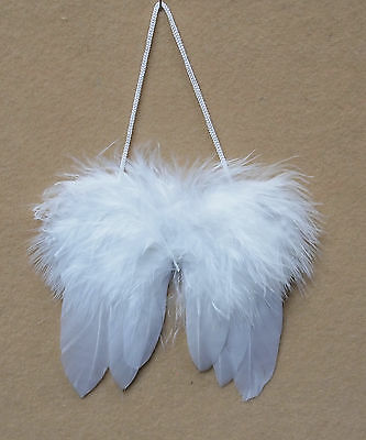 """12 pairs of miniature feather angel wings, white, 3""""x3"""""""