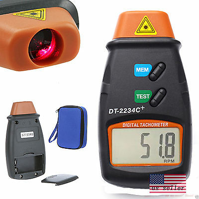 Noncontact Tach Tool RPM Handheld Digital Photo Laser Tachometer Meter Tester US