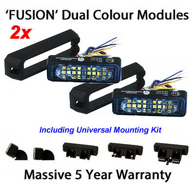 2 X Dual Colour LED Strobe Warning Lights Like Premier Hazard