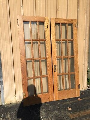 Cm 43 One Pair Oak Flat Glass French Doors