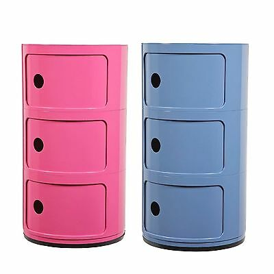 Cylinder 3 Shelf Storage Chest 3 Drawer Childrens Kids Storage Box Toy Box