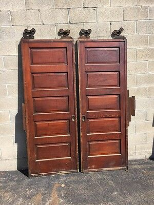 Cm 49 Two Sets Available Raised Panel Pine Pocket Doors Antique