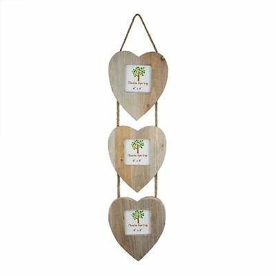 """Wooden Shabby Chic Rustic Driftwood Triple Heart Hanging Photo Frame-4x4"""""""