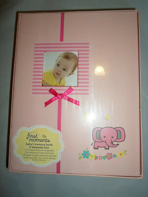First Moments Babys Girls Pink Floral Memory Book Keepsake Storage Box Sealed