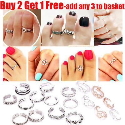 15+Styles Silver Plated Heart Peace Vintage Toe Rings Adjustable For Women Girl