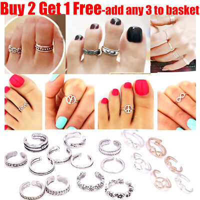 Women Lady 15+Styles Silver Plated Heart Peace Vintage Toe Rings For Women Girl