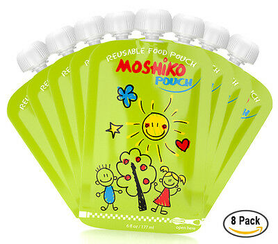 Reusable Baby Toddler or Adult Food Pouch by Moshiko (8 pack)