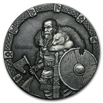 2015 Viking Series Ragnar 2 oz Silver Antiqued HR Coin W/Mint Packaging & COA