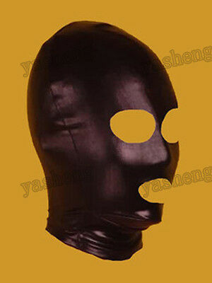 Spandex Hood Full Mask Open Mouth & Eyes 3 Holes Stretchy Black