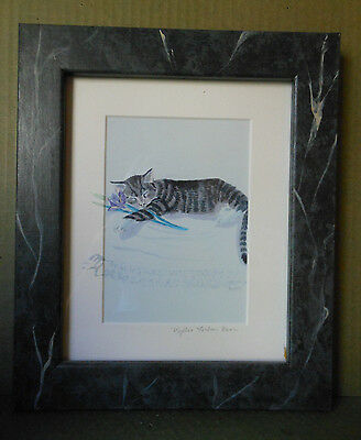 Tabby Cat Print Framed Signed 10 x 12  Notable Artist Phyllis Forbes Kerr