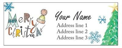 30 Personalized Custom Address Labels Laser Print Christmas Tree Snow Stickers 2