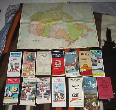 Vintage Maps Gulf Exxon Shell Mobil and Canada Lot Of 13