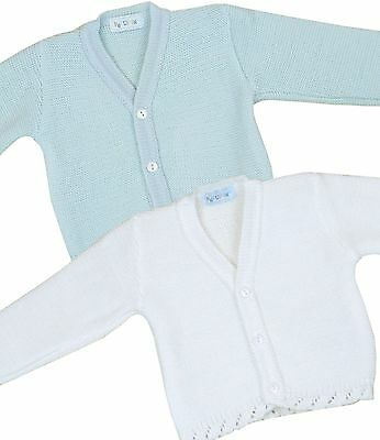 BabyPrem Baby Clothes Boys Girls Plain Knitted Blue White Cardigan Cardi Sweater