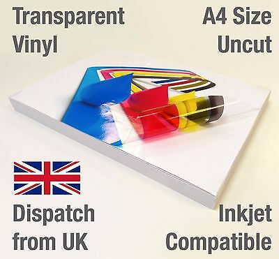 A4 Clear Transparent VINYL INKJET Print Glossy Self Adhesive Label Stickers