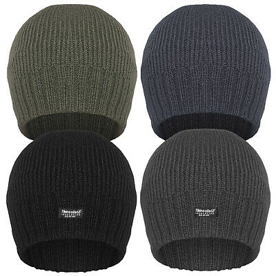 Men's Fine Ribbed Thinsulate Lined Beanie Hat …