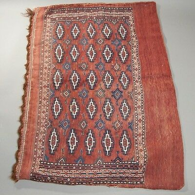 "RARE! Antique LARGE Turksmen Rug Storage Bag Handmade 100% Wool 33x47"" Sumac"