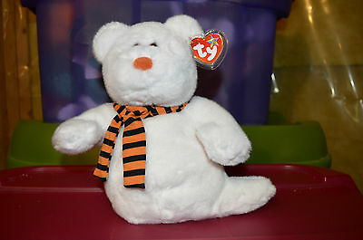 New Halloween Ty Beaniie Buddy Babies Plush- Quivers Ghost Orange Scarf Nwmt!