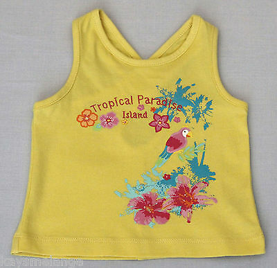 Baby Girl's Yellow Tropical Parardise Island Sleeveless Cotton Top - Size 0 NWOT
