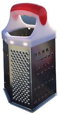 Stainless Steel 6 Sided Grater Cheese Potatoes Carrots Fine Fruits Medium Coarse