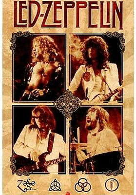 Led Zeppelin Parchment Group Music Poster Print, New, 24x36