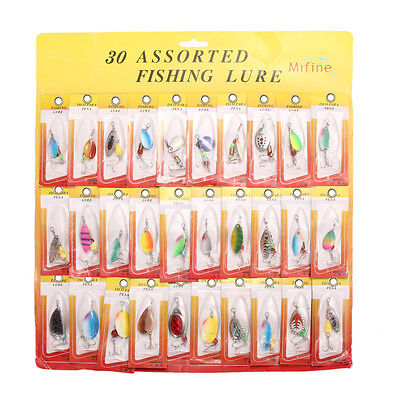 30pcs Assorted Metal Spinners Spoons Fishing Lures Bait Tackle Salmon Bass Hooks