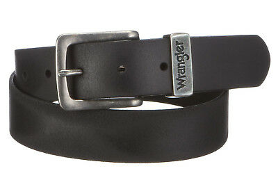 Wrangler New Men's Metal Loop Leather Buckle Belt Black