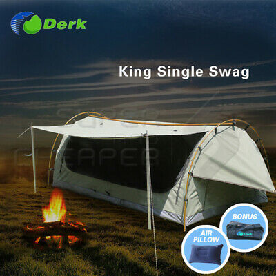 Derk Freestanding King Single Swag Camping Canvas Tent Deluxe Aluminum Pole