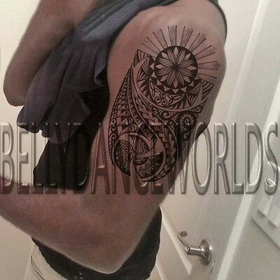 Tribal Polynesian Maori Hawaiian Temporary Tattoo Upper Arm Bicep Man Sticker