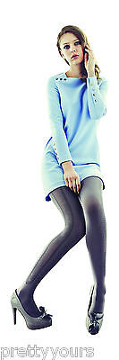 Ladies Girls Opaque Fashion Tights for Women with Elegant Side Pattern 60 Denier