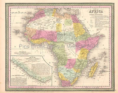 African Continent Antique Map DeSilver 1854 Original