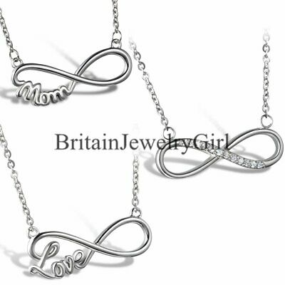 """Charm Love Mom Infinity Stainless Steel Pendant Necklace 18"""" for Women Girl Gift"""