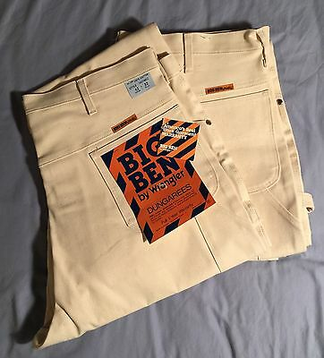 Vintage Wrangler Denim painter pants NOS 2 TWO PAIRS BIG BEN White JEANS 42x32