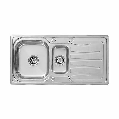 ENKI Stainless Steel 1.5 One Half Bowl Square Inset Kitchen Sink Drainboard