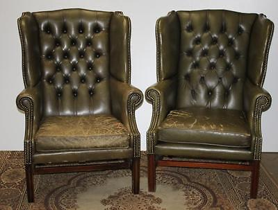 Vintage Pair(2) of Leather Button Back Chairs - FREE Delivery [PL1422]