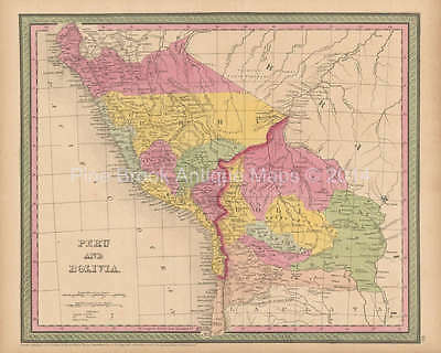 Peru Bolivia Antique Map Cowperthwait 1853 Original