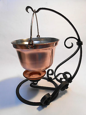 NEW Small Copper Cauldron Pot w/ Hand Forged Stand Food Warmer 0.7L - 2.9oz