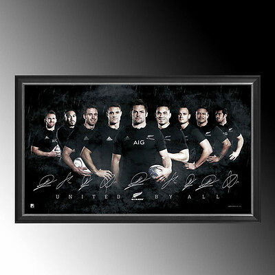 Official Rugby World Cup New Zealand All Blacks 2015 Signed Sports Print Framed