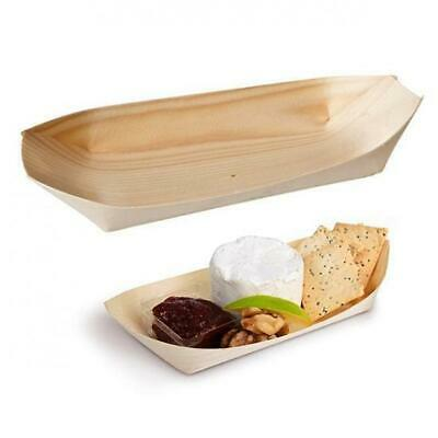 50x Disposable Oval Boat, Biowood, 225x110mm, Catering, Functions, Parties