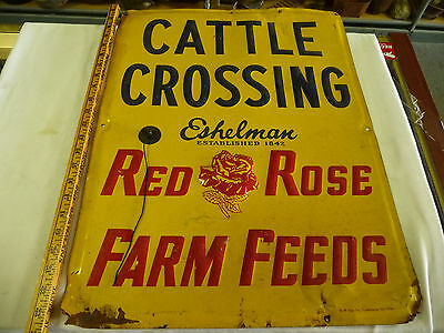 Vintage *rare* Eshelman Red Rose Feeds Cattle Crossing Embossed Metal Farm Sign