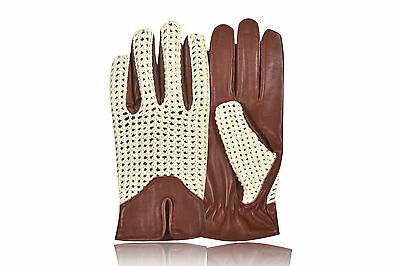 Premium Quality Crochet Driving Gloves Retro Style Sheep Leather Chauffeur Retro
