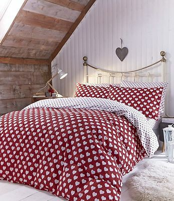 Catherine Lansfield Brushed Hearts Flannelette Duvet Cover Set, 100% Soft Cotton