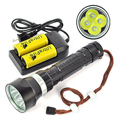 8000Lm 4*XM-L2 LED Diving Flashlight Buceo Linterna Luz Submarinismo 26650/18650