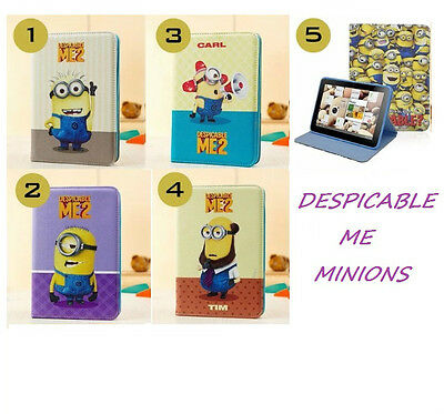 """Despicable Me Minions Leather Case Cover Samsung Galaxy Tab4 10.1"""" Inch P5200"""