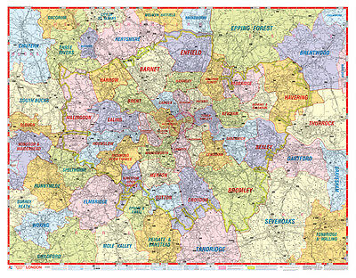 London Postcode Map by A-Z Maps (GLOSS LAMINATED WALL MAP)