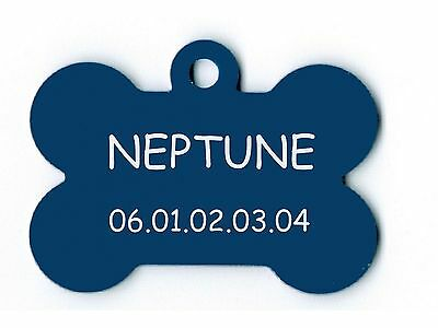 medaille gravee chien ou chat - modele grand os neptune - bleue